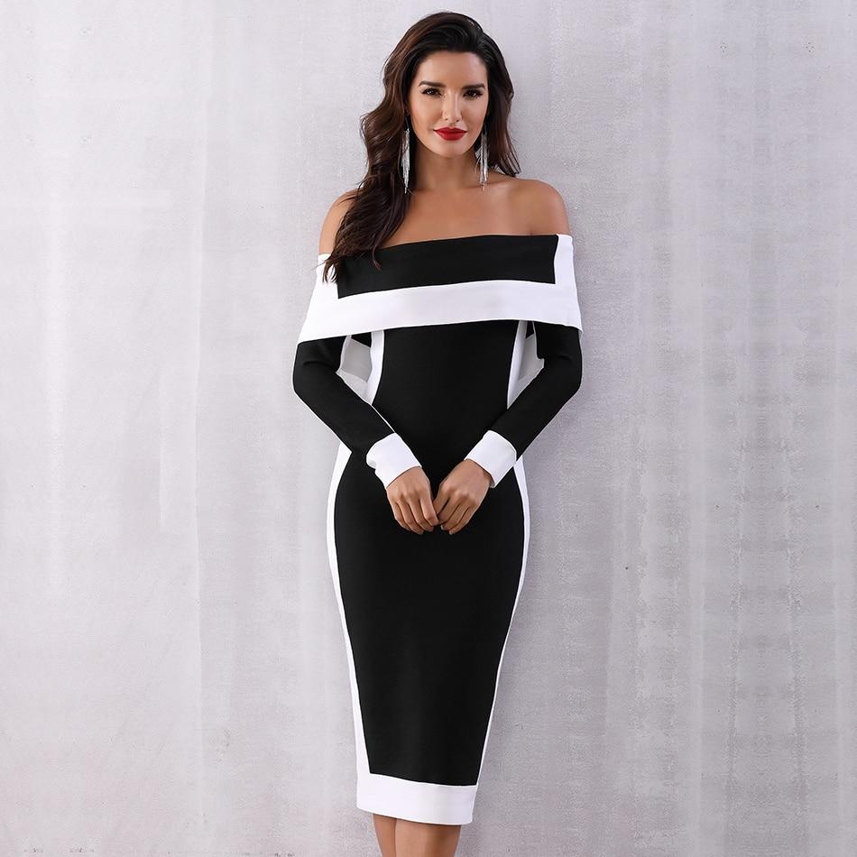Seamyla New Long Sleeve Bodycon Bandage Dresses Women Vestidos 19 Runway Party Dress Midi Celebrity Sexy Clubwear Dress Slim 2