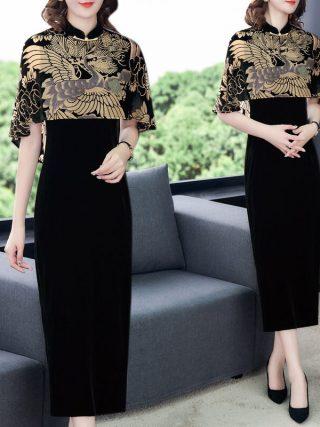 Chinese Style Clothing Gold Velvet Print Cloak Vintage Qipao Dress Women Elegant Plus Size Party Dress Femme Robe Vestidos f2626