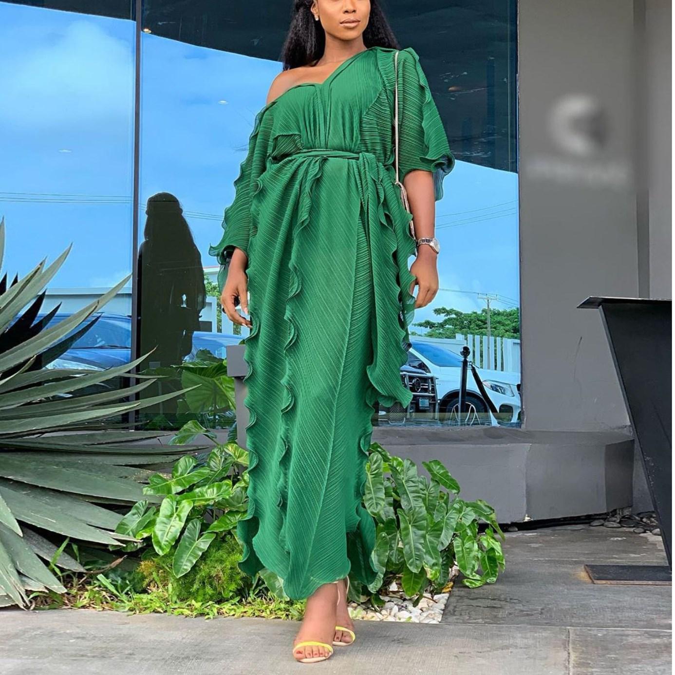 Loose Women Half Sleeve Ruffles Long Dress Casual Boho Style Party Beach Maxi Dress Fashion V Neck Oversized Falbala Dress 1
