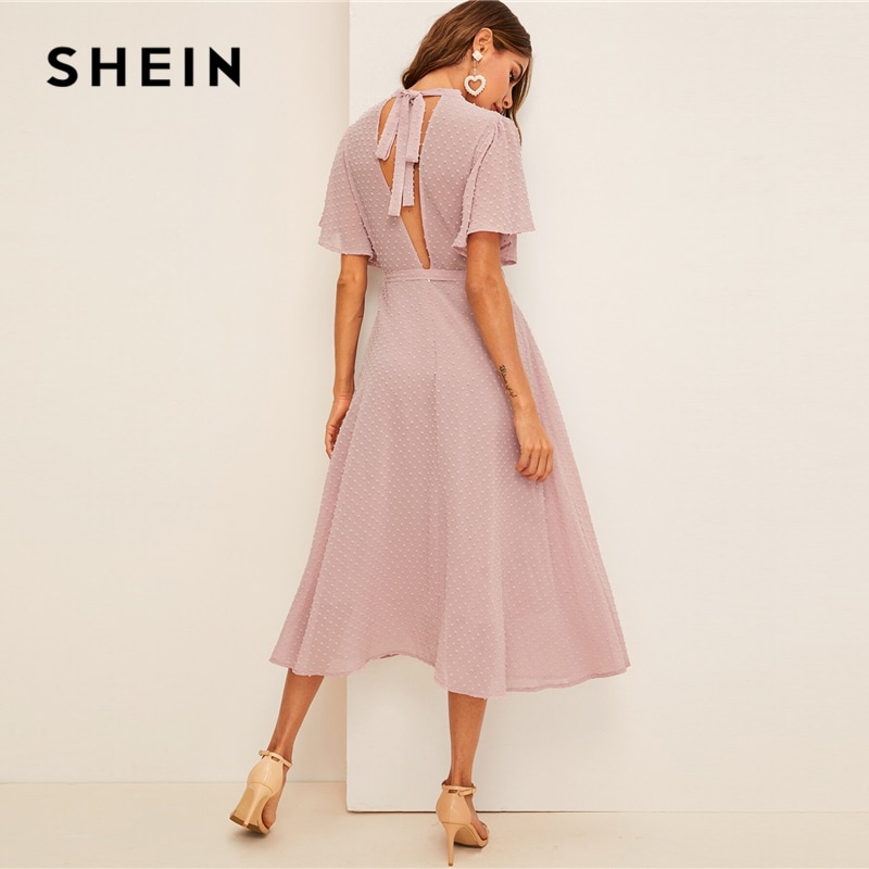 SHEIN Flutter Sleeve Swiss Dot Belted Dress Elegant Pink Pastel Solid Women Dresses Stand Collar A Line Half Sleeve Dresses 1