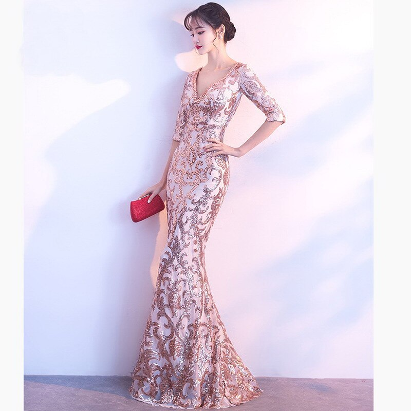 Gold Paisley Sequined Gem Beaded V Neck Half Sleeve Luxury Special Occasion Long Dresses For Women Elegant Sexy Club Party Dress 3