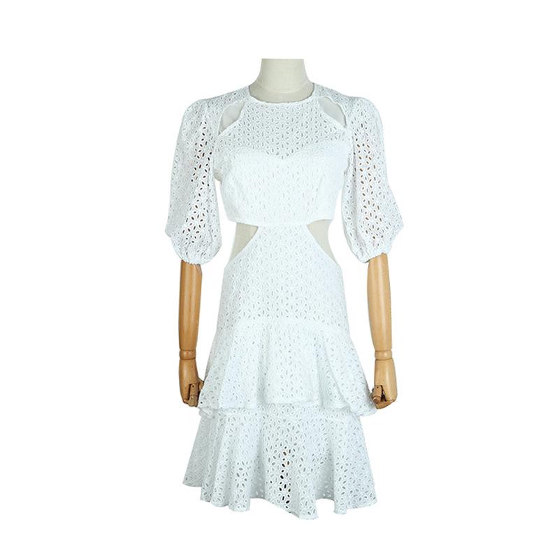 19 New Sexy Hollow Out White Women's Dresses Puff Half Sleeve High Waist Mini Dress 2
