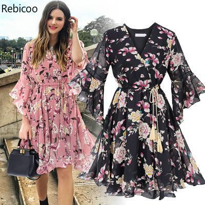 Chiffon High Elastic Waist Party Dress Bow A-line Women Butterfly Sleeve Flower Print Floral Boho Dress Female Vestido Plus Size 1