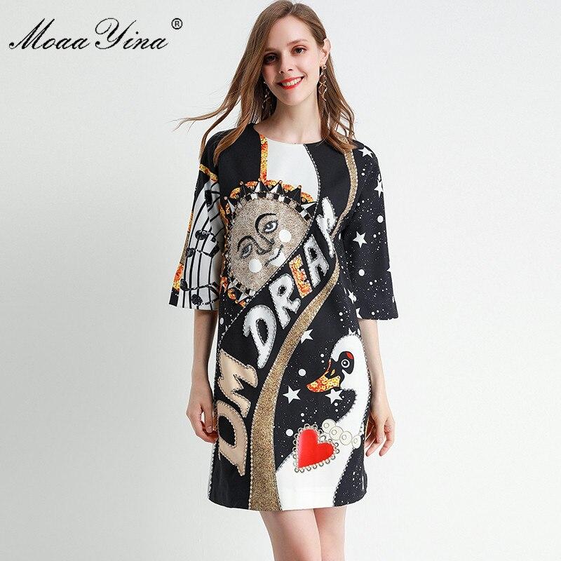 MoaaYina Fashion Designer dress Spring Summer Women's Dress Half sleeve Crystal Beading Loose Dresses 1