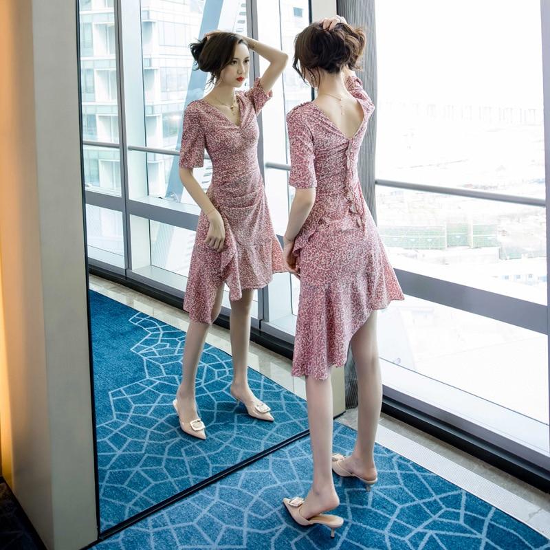 Summer 19 Half Sleeve Sheath Ruffles Ladies Dresses Pink Vestido Mujer Sexy Dress Women Plus Size Print Leopard Women Dress 1