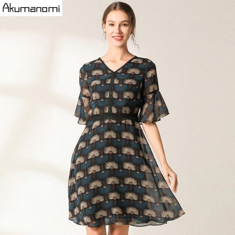 Flowrs Print Dress 19 New Fashion Women High Street A-Line Dresses Flare Half Sleeve Mini Autumn Dress Vestidos Plus Size 2