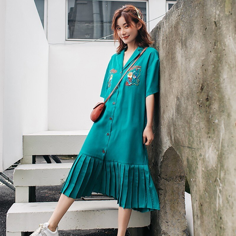 GALCAUR Summer Embroidery Women Dress Lapel Half Sleeve Oversized Button Pleated Shirt Dresses Female Fashion 19 Korean 2