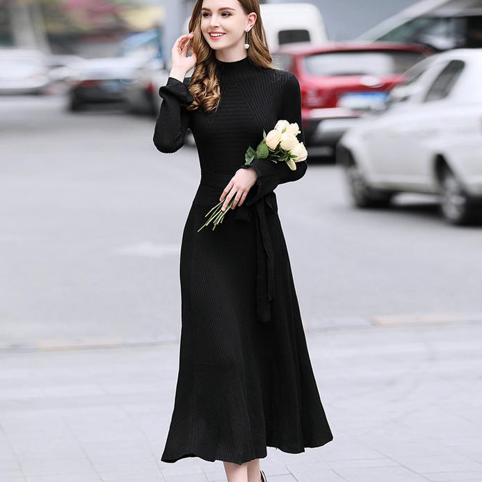 women temperament fashion knit dress flare sleeves half high collar long sleeve sweater dress big swing a-line slim dress 3