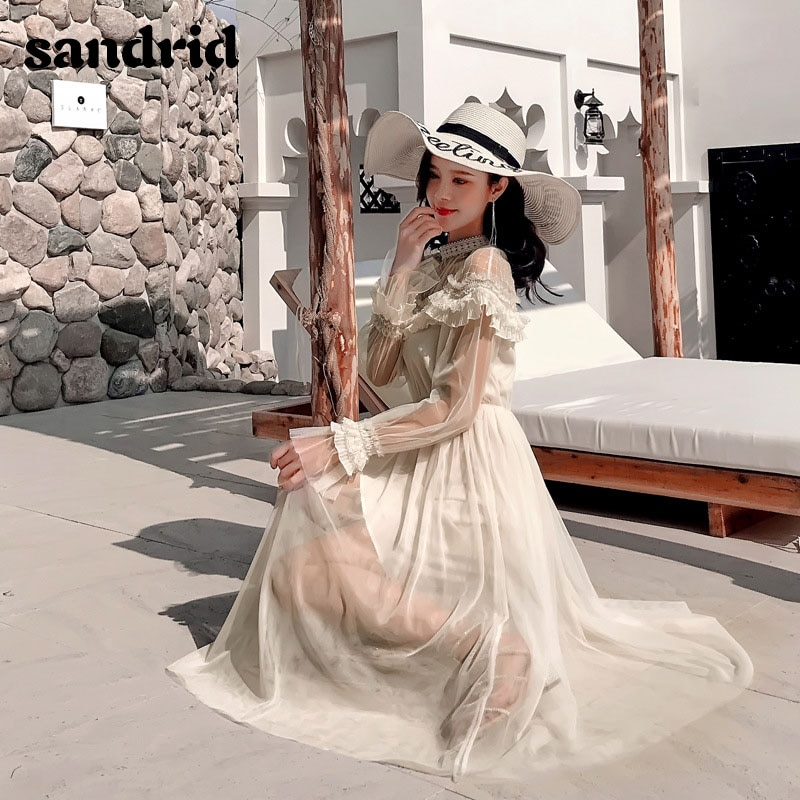 sandrid 19 French dress with flared sleeves with half-high neckline lace patchwork mesh 3