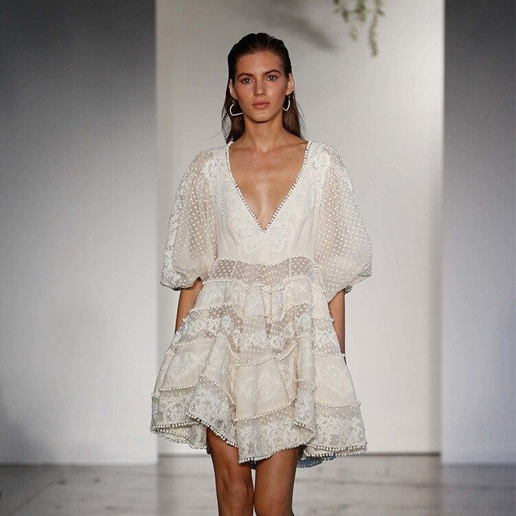 Runway Designer Deep V-Neck Hollow Out Summer Short Dress Women Half sleeve White Dress 18 Beach casual Chic Mini Dress 2