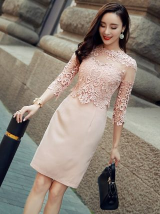 Sexy Hollow-out Lace Mini Dress O-neck Elegant Slim Women Dress Half Sleeve High Waist Office Ladies Dress vestidos 18