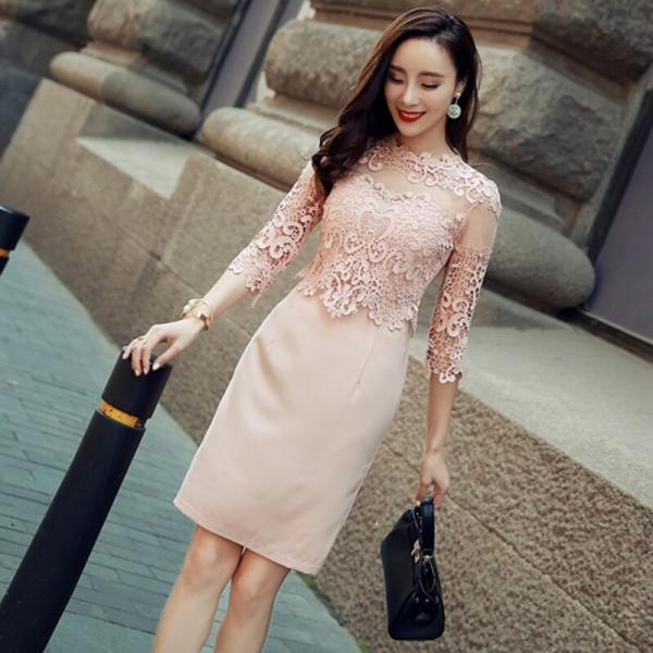 Sexy Hollow-out Lace Mini Dress O-neck Elegant Slim Women Dress Half Sleeve High Waist Office Ladies Dress vestidos 18