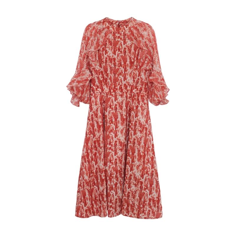 Vintage French Women Summer Dress Floral Printed Half Sleeve Elegant Hight Waist Petal Sleeve Sweet Midi Party Dresses 3