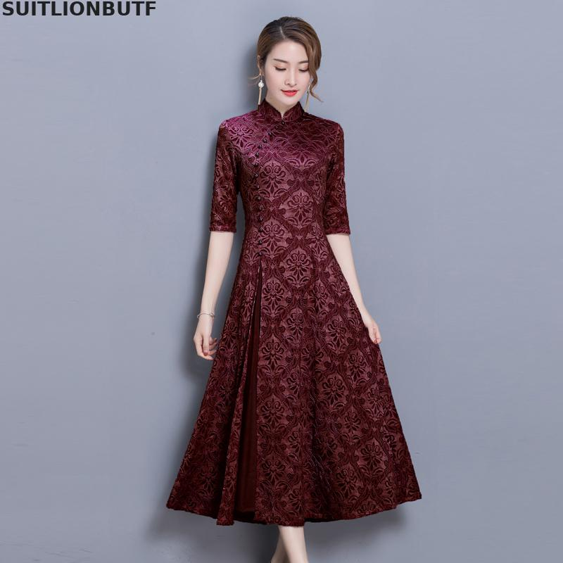 3xl Floral Cheongsam Dress Chinese Style Half Sleeve Retro Dress 19 Spring Autumn Slim Female Sheer Dress Vintage Women Dress 3
