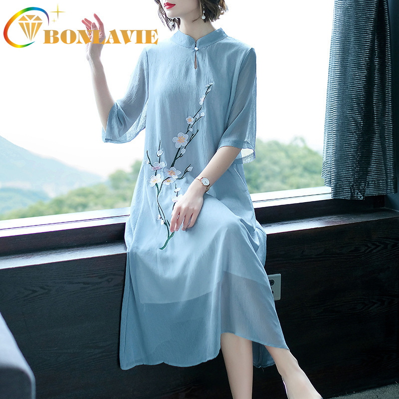 Women Dress Chinese Retro Style Plum Blossom Embroidery Summer Large Size Chiffon Dress Half Sleeve Knee-Length Collar Dresses