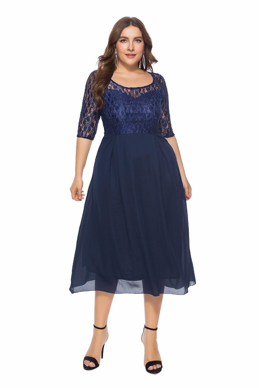 19 Women Spring Autumn Lace Dress O Neck Half Sleeve Plus Size 6XL Patchwork Navy Blue Mid-Calf Chiffon Dress Club Party Dress 3