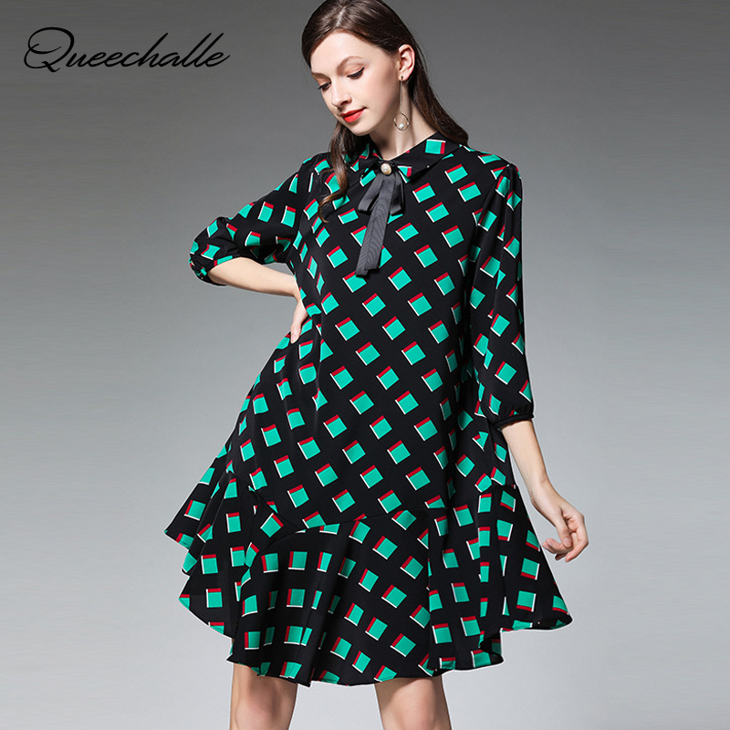 XL – 4XL Plus Size Chiffon Dress 19 Summer Dress Women Green Plaid Print Half Sleeve Loose Dress Elegant Ruffles Midi Dresses 1