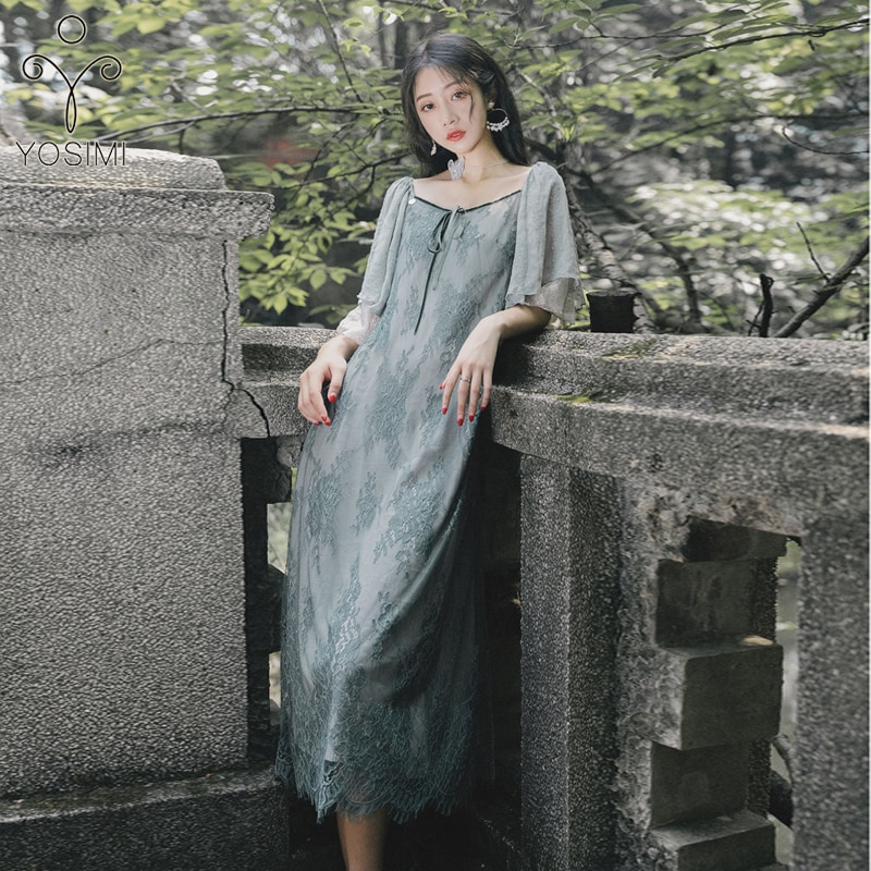 YOSIMI Women Dress 19 Summer Elegant Gray Lace Long Dress V-neck Half Sleeve Ladies Party Dress Ankle-Length Ruffles Sleeve 1