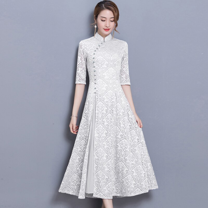 19 new vintage Lace Long dress women Summer Chinese Style A-Line dress Solid color Half sleeve Ankle-Length dress women 1