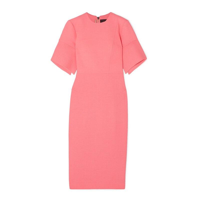 Elegant Work Women Pencil Dress Solid Pink Slim Half Sleeve Dresses Back Zipper Office Lady High Waist Long Mid Dress 3