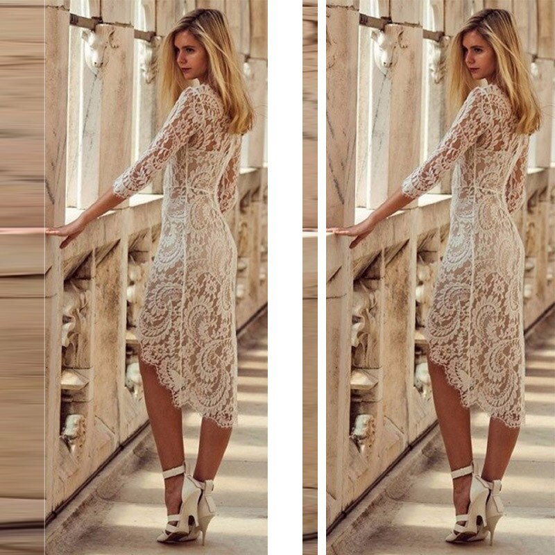 Sexy Summer Lace Bodycon Party Pencil Dress Half Sleeve Knee-Length Dresses For Women Sexy V-neck Lace Slim Pencil Dress Vestido 1