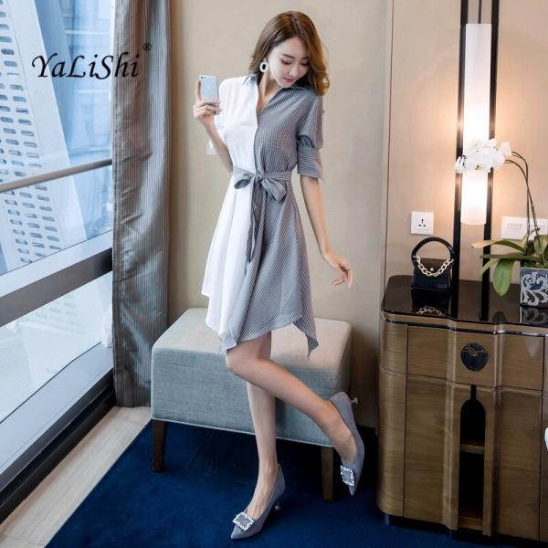 Plus Size Patchwork Asymmetrical Dress 18 Women Autumn White Striped Half Sleeve Knee-length Casual Party Dress Shirt Dresses
