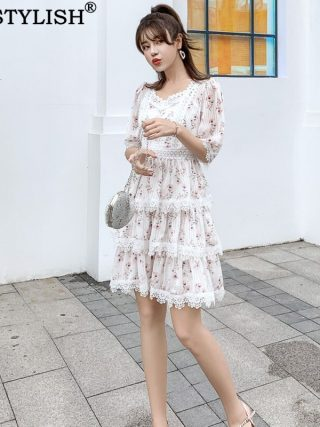 Australian Court Style Lady Casual Print Lace Stitch Cutout Half Sleeve High Waist Thin Layer Cake One-piece Dress
