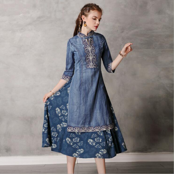 19 Autumn Elegant Vintage Denim Dress Embroridery Hit Color Half Sleeve Cheongsam Party Ladies Dress Vestidos