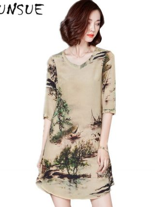 19 V-neck Vintage Silk Dress Half Sleeve Printing Floral Dress Women Summer Dresses Casual Plus size 4XL Vestidos Mujer FYY344