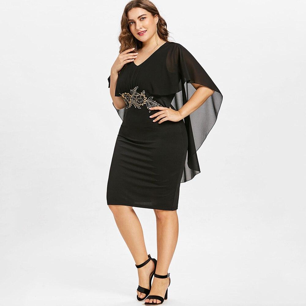 Wipalo Women Fashions Plus Size 5XL Embroidery Capelet Semi Sheer V Neck Party Dress Half Sleeves Sheath Dress Vestidos Big Size 2