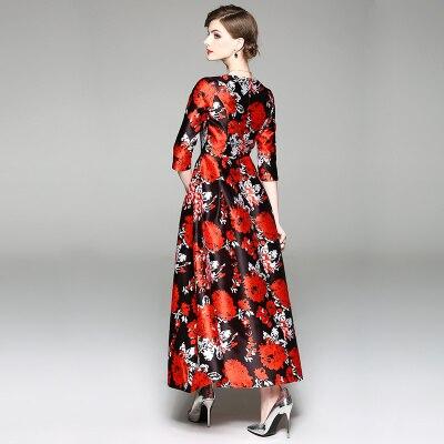 New Spring Floral Print Long Runway Dress Women Bohemian Half Sleeve Boho Maxi Party Dresses Tunic Vestidos Robe Plus Size 3xl 3