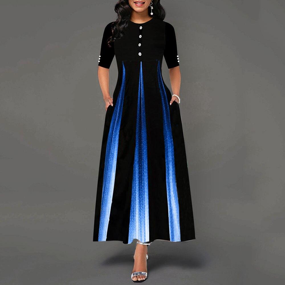 Maxi Elegant Party Dress Women Half Sleeve Floral Ankle-Length Female Black Summer Ladies Dress A-line Long Dress robe femme