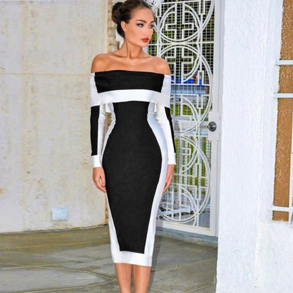Seamyla New Long Sleeve Bodycon Bandage Dresses Women Vestidos 19 Runway Party Dress Midi Celebrity Sexy Clubwear Dress Slim