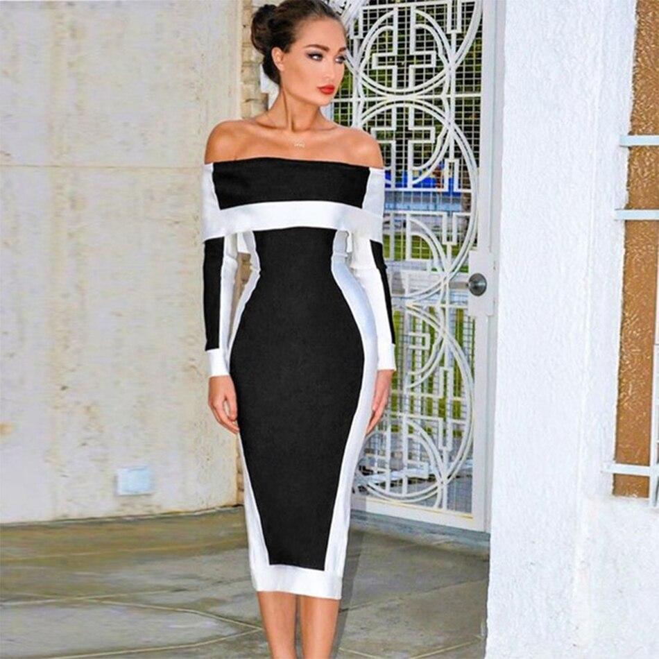 Seamyla New Long Sleeve Bodycon Bandage Dresses Women Vestidos 19 Runway Party Dress Midi Celebrity Sexy Clubwear Dress Slim