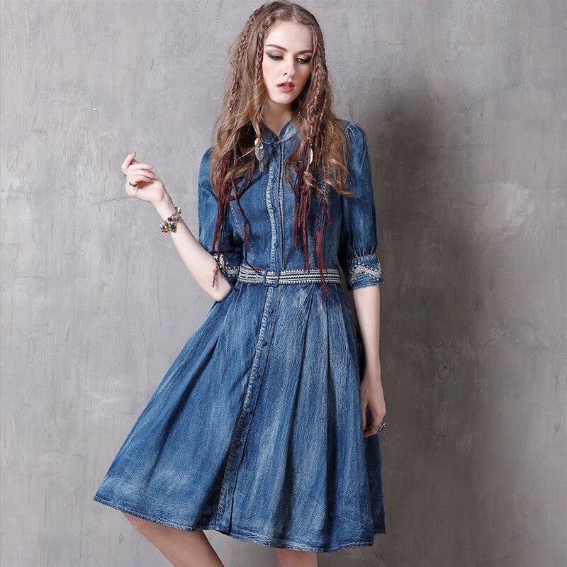 Summer Casual Vintage Women Designer Embroidery Sash Pleated Half Sleeve Denim Dress , 19 Woman Mandarin Collar Jeans Dresses 2