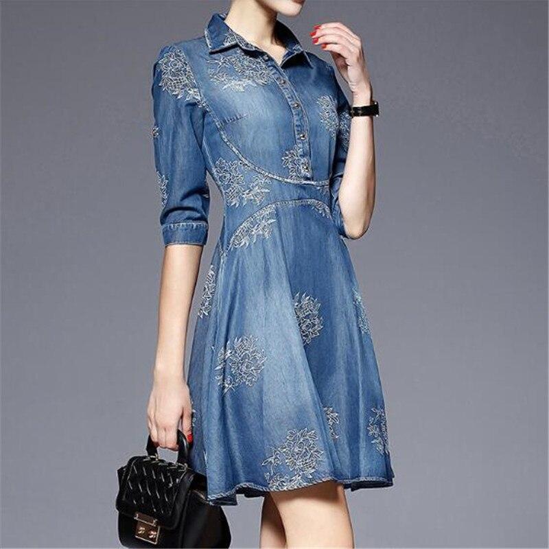Women Denim Dress 19 Spring/summer New Europe Fashion Half sleeve Embroidery Big swing dress female Plus Size Cowboy Dresses 3