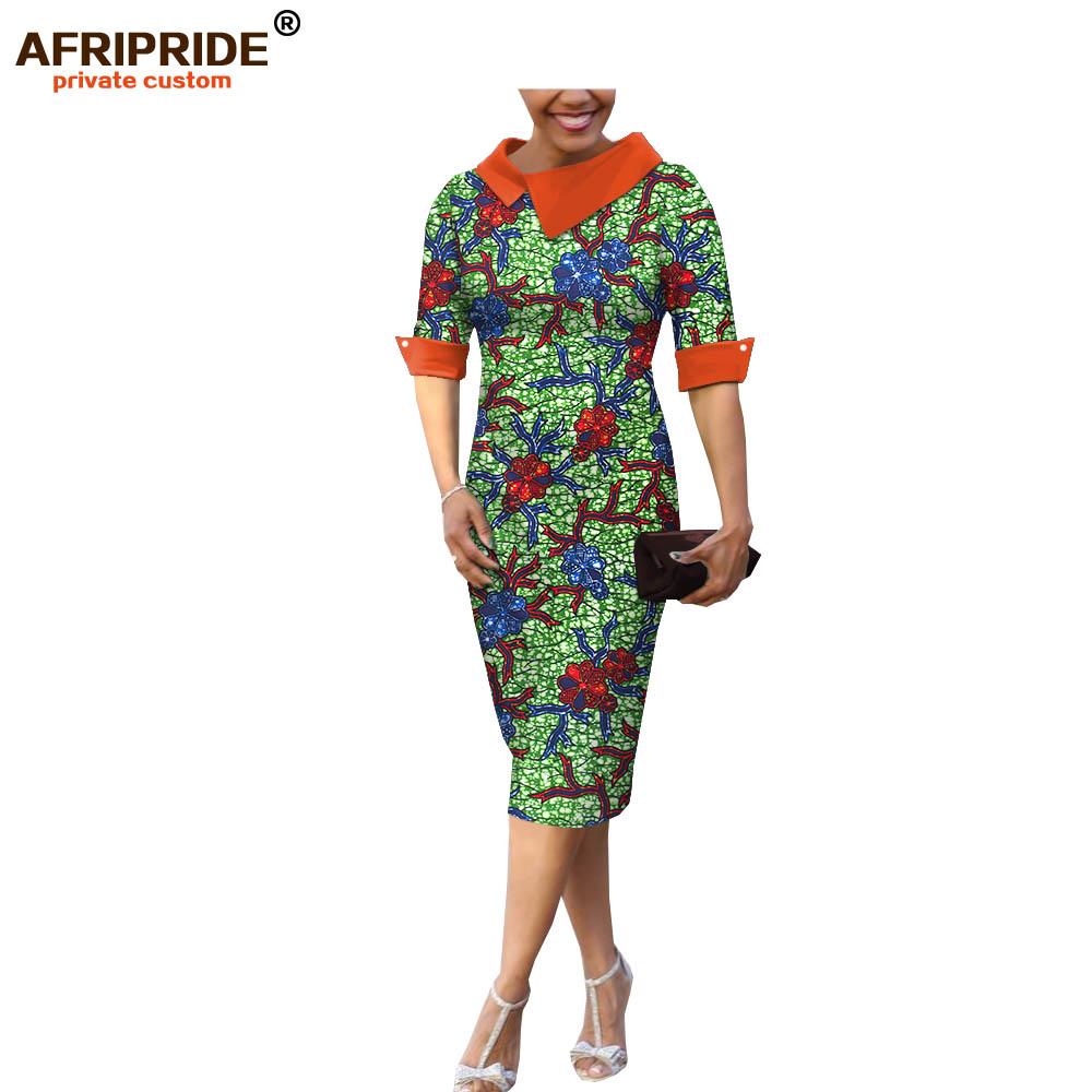 18 summer&autumn casual women pencil dress african wax print AFRIPRIDE tailor made half sleeve mid-calf length dress A1825055 2