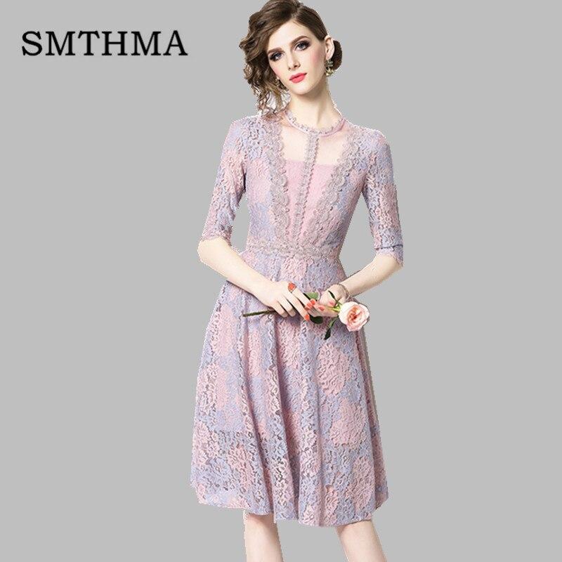 SMTHMA 19 New High-end Lace Dress Women Summer Half Sleeve Dresses Elegant Party Vestidos 1