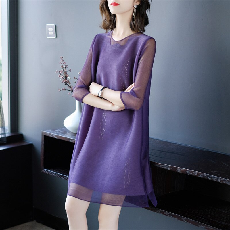 19 New Women Clothing Summer Fashion O-neck Half Sleeves Dress Hollow Out Mesh Patchwork Vintage Elastic Loose Dresses Female