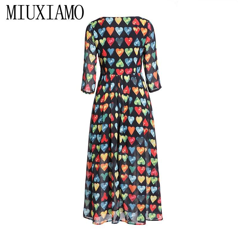MIUXIMAO 19 Spring&Summer Long Dress New Arrival Fashion V-Neck Full Half Sleeve Heart Print Ankle-Length Dress Women vestido 3