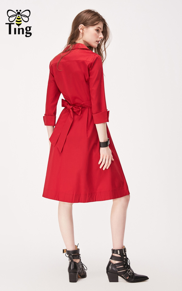 Tingfly Casual Summer Women Knee Length Shirt Dress Vintage Half Sleeve Elegant Office Work Dresses Streetwear Vestidos Plus 2