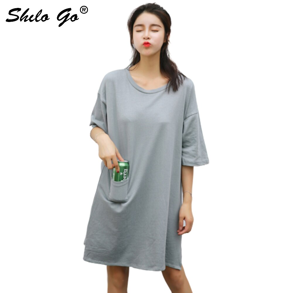 Dress Womens Summer Fashion Concise Casual O Neck half Sleeve dress front pocket loose grey cotton dress 1