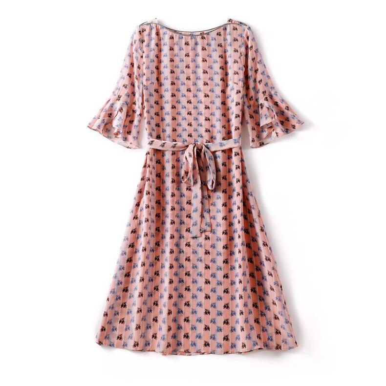 19 100% Silk Women's Runway O Neck Half Flare Sleeves Printed Sash Belt Floral Fashion Summer Dresses 2
