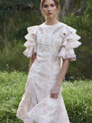 Future Time Autumn Printing White Dress Women 19 Long Beach Dress Bodycon Half Sleeve Round Collar A-Line Sexy Bandage Dress