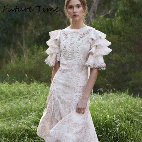 Future Time Autumn Printing White Dress Women 19 Long Beach Dress Bodycon Half Sleeve Round Collar A-Line Sexy Bandage Dress