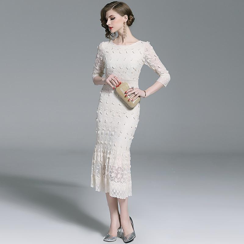 SMTHMA 19 New Embrodery Mesh Long Dress Women Spring Half Sleeve Dresses High Waist Trumpet Mermaid Dress Vestido 2