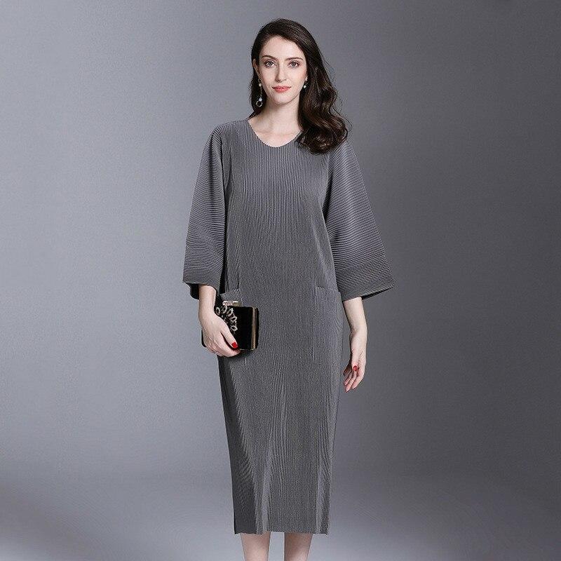 Autumn And Winter Pleats Loose O-neck Half Sleeve Double Pockets Elastic Dress Female's Personality Cloth Vestido YE851 LANMREM 2