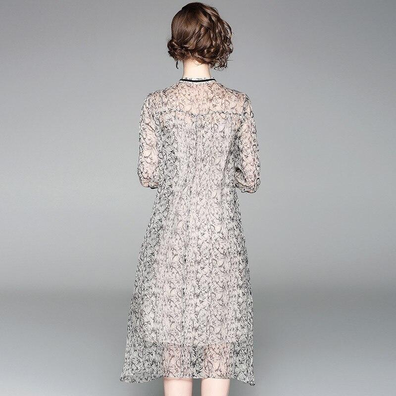 100% Natural Silk Dress Women Summer Fashion Printed O-Neck Half Sleeved Loose A-Line Two Piece Dress Midi M-XXL 2