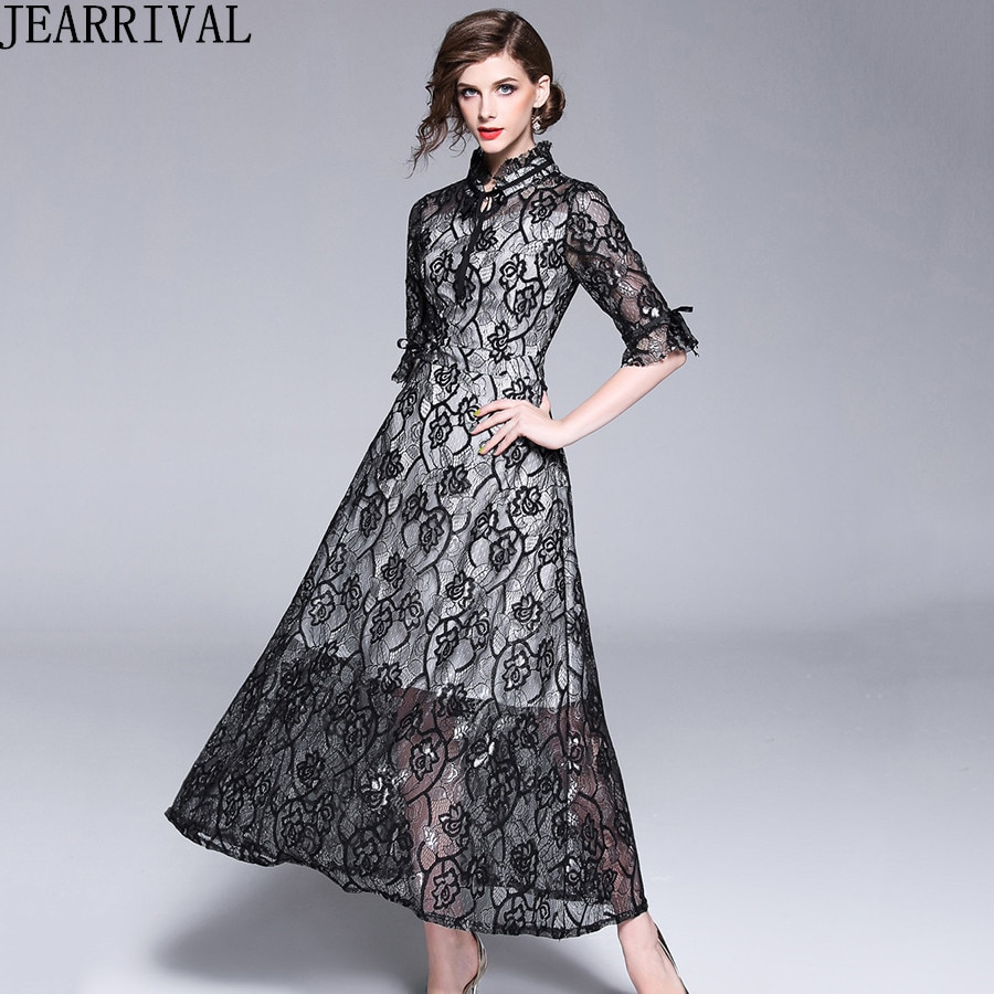 Autumn Fashion Womens Elegant Lace Dress 18 High Quality Half Sleeve Hollow Out Slim Casual Long Dresses Party Vestidos 1