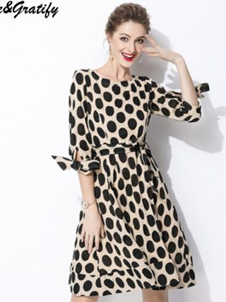 New 18 Women Classic Polka Dot Dresses Plus Size Casual Bowtie Half Sleeve Office Work Dress